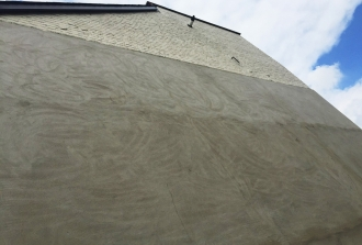 External waterproof rendering waiting to receive decorative finish